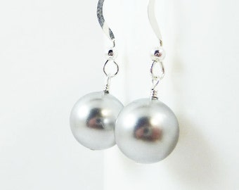 Light Gray pearl earrings AMPLE Bridal Wedding Bridesmaid large Swarovski pearls on Sterling Silver