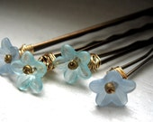 flower bobby pins...shades of blue ...hairpins