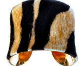 Tiger Stripe Pony Hair Gold Lined Cuff Bracelet  - by UNEARTHED