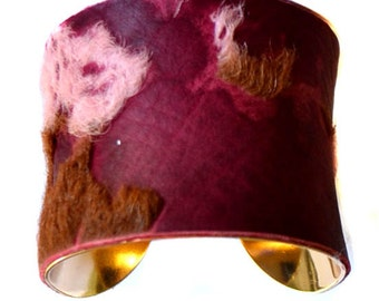 Purple Burnout Calfskin Gold Lined Cuff Bracelet - by UNEARTHED
