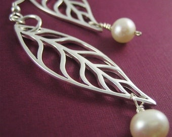 Fall Fashion Silver Long Leaf Earrings Silver Charm White Pearl Nature Wedding Ready to Ship