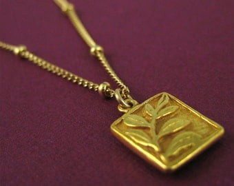 Gold Square Leaf Necklace Nature Jewelry Spring Gift Mothers Day Sale Cute Necklace Modern Simplicity under 50