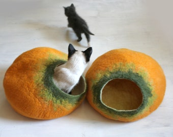 Cat Cave / Bed / House / Vessel / Furniture - Hand Felted Wool - Yellow Pumpkin Bubble - Crisp Contemporary Modern Design - READY TO SHIP