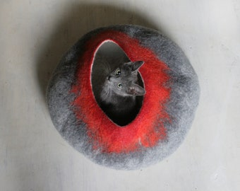 Gray Red Bubble - Hand Felted Wool Cat Bed / Vessel  - Crisp Contemporary Design