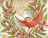 whimsical Holiday folk painting of a bird in a wreath - 8 x 8 - watercolor - a limited edition archival print by cori dantini