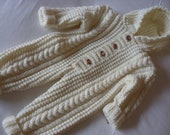 Aran Baby Handknitted Cream/ All In One-Knit Hooded Baby Suit- 6-12 months-Ready to Ship