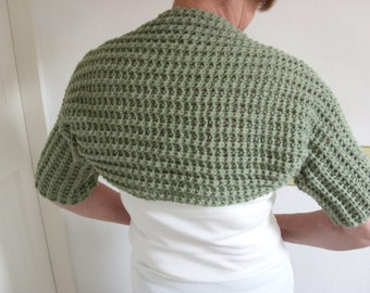 Moss Green Handknit  Ladies Shrug-Womens Cropped Cardigan-Ladies Knit Short Jacket-Ready to Ship
