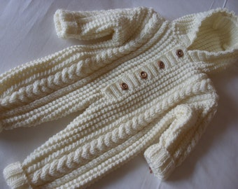 Aran Cream Hand Knit Baby Suit/All in One/ Perfect Shower Gift/Newborn-3 months-Ready to Ship
