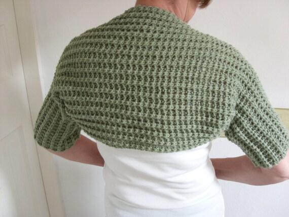 SHORT CARDIGAN/SHRUG/Moss Green Handknit  Ladies Shrug-Womens Cropped Cardigan-Ladies Knit Short Jacket-Ready to Ship