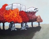 Digital Print of  AT AT Walker hiding in the Autumn Trees 14x17 from original acrylic on canvas painting