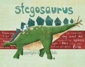 Dinosaur Art, Stegosaurus 8x10 Print