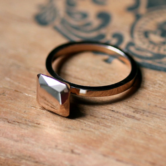 14k Rose Gold Engagement Ring Modern Engagement By Metalicious