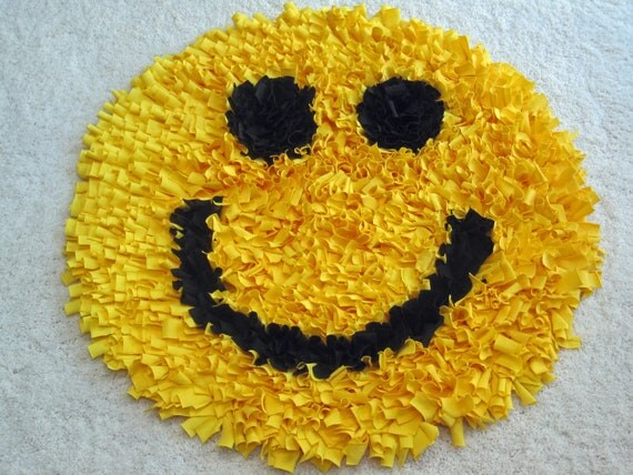 Custom Smiley Face Recycled Cotton Shag RUG