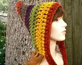 Crochet Hat Womens Hat - Remnant Pixie Hat Crochet Hat - Multicolor Hat Multicolor Pixie Hat Womens Accessories Winter Hat