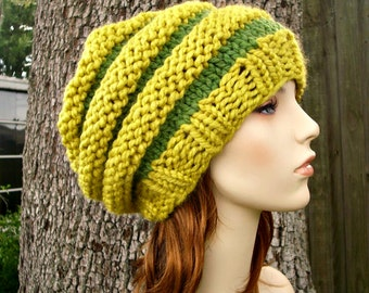 Knit Hat Womens Hat Slouchy Beanie - Oversized Beehive Beret Hat in Yellow Green Knit Hat - Yellow Beret Green Beret Womens Accessories