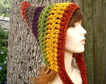 Crochet Hat Womens Hat - Remnant Pixie Hat Crochet Hat - Multicolor Hat Multicolor Pixie Hat Womens Accessories Winter Hat