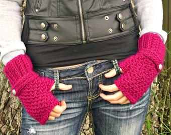 Crocheted Fingerless Gloves Mittens - Passionfruit Pink Fingerless Gloves - Pink Gloves Pink Mittens Womens Accessories Fall Fashion