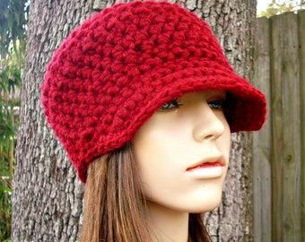 Cranberry Red Newsboy Hat Red Crochet Hat Red Womens Hat - Jockey Cap - Red Hat Red Beanie Womens Accessories Fall Fashion Winter Hat