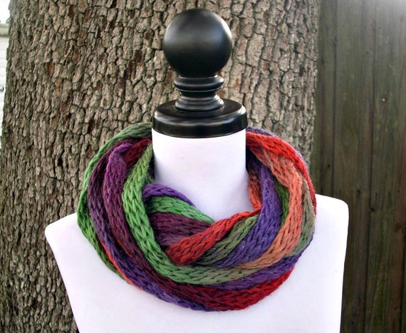 Circle Scarf Infinity Scarf Knit Cowl Chunky Scarf - Infinity Cowl in Sundown Purple Green Blue Womens Accessories - READY TO SHIP