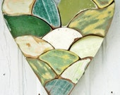 Green Mosaic Heart Reclaimed Wood Art