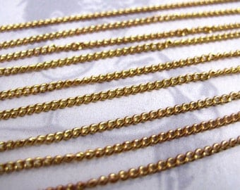 LAST Set - Vintage Yellow Brass Curb Chain - Soldered (5 Feet) (C603)