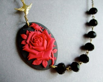 Cameo Necklace,Red Rose Necklace,Red Necklace,Red Flower Necklace,Black Necklace,Bridesmaid Jewelry Set,Bridesmaid Set,Black Jewelry,Gift