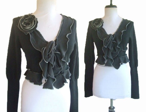 Cropped Sweater Jacket M Ruffled Black Recycled Eco Friendly Medium with Floral Pin