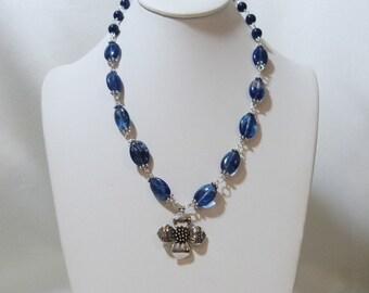 Blueberry Quartz and Lapis Flower Necklace