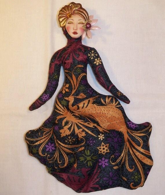 SALE Bird of Paradise Goddess cloth art doll form w/face cab 10in. tall U finish it KIT