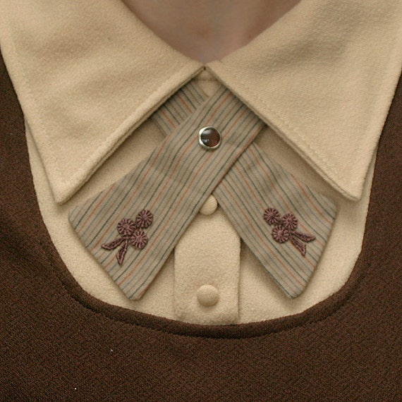 Womens Neck Tie - Brown Pinstripes - Lace Flowers
