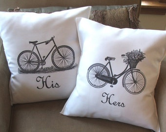 bicycle throw pillow, his and hers throw pillow covers, SALE