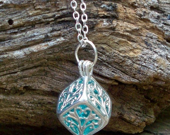 Recycled Vintage Mason Jar Silver Filigree Box Necklace