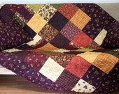 """Twin Bed Quilt AUTUMN LEAVES 65"""" x 90"""" and Pillow Shams"""