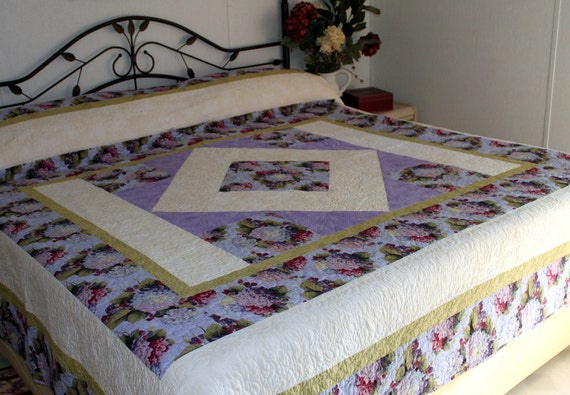 King Bed Quilt Hydrangeas and Raspberries ON SALE