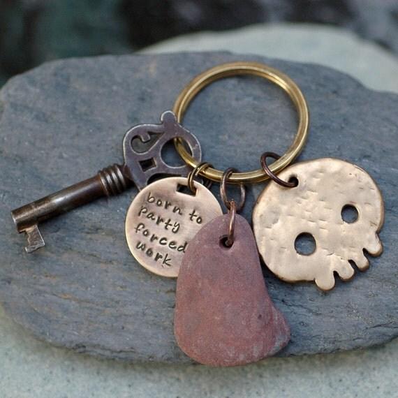 Skull Keychain Bronze, Beach Stone, Skeleton Key, For Him, Unisex, Accessory - Born To Party