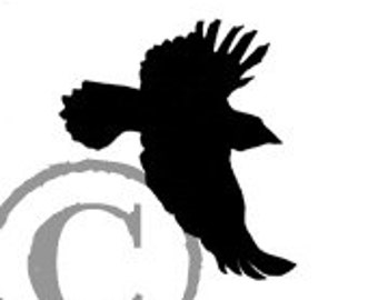 Flying Blackbird rubber stamp