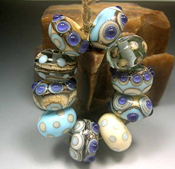 Handmade LAMPWORK Glass Beads Set 12 Donna Millard sra black aqua ivory blue purple turquoise dots Blue Lotus