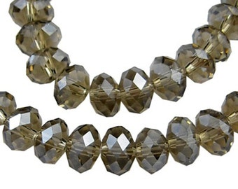 12 8x6mm Czech glass crystal beads, faceted abacus rondelle (dark topaz grey) FA8