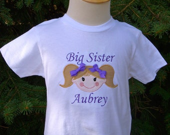 Custom Personalized Big Sister Long or Short Sleeve T shirt Match Skin and Hair Colors Embroidery Applique