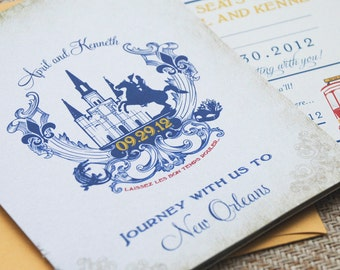 Old World Travel Booklet Wedding Invitation - New Orleans