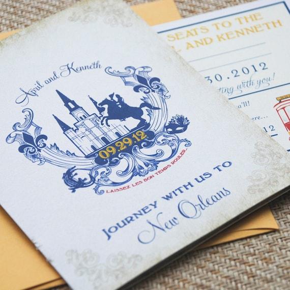 New Orleans Wedding Invitation Old World Travel Booklet Wedding Invitation New Orleans