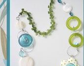 Turquoise Flower Pendant and Ceramic Bead Necklace with ribbon - debra kallen