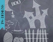 Chalk Overlays for Photographers - Spooky Halloween chalkboard,