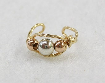 Cute Tricolor Silver & Rose Gold Beads Gold Wire Ear Cuff