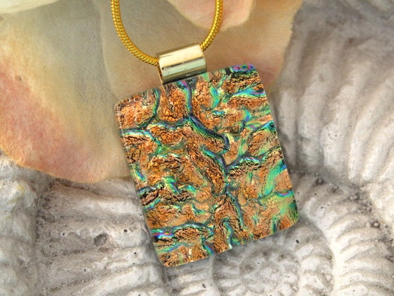 Dichroic Glass Pendant - Golden  - Fused  Glass Pendant - Dichroic  Jewelry - Necklace 070812p100