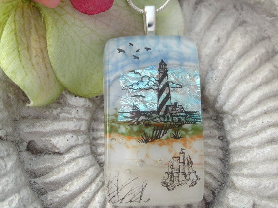 Beach Jewelry - Sandcastle Light House -  Dichroic Glass Pendant - Dichroic Fused Glass Jewelry -Exclusive 071712p104