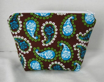 Paisley Make Up Bag Teal Lime Zipper Pouch