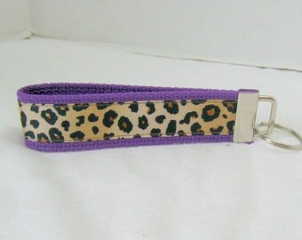 Cheetah Key Fob PURPLE Animal Print Key Chain Wristlet