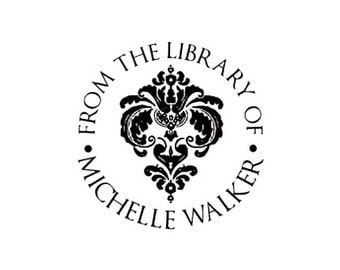 Damask from the library of custom rubber stamp bookplate