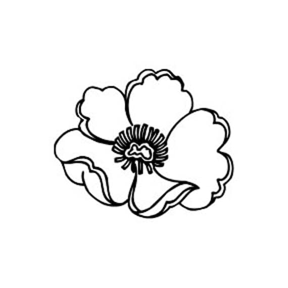 Poppy Flower Rubber Stamp Mini